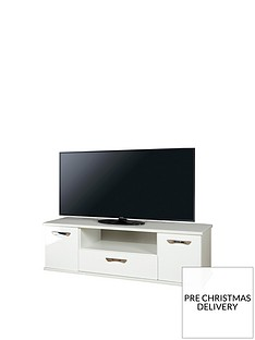 SWIFT Neptune Ready Assembled White High Gloss TV Unit - fits up to 65 inch TV