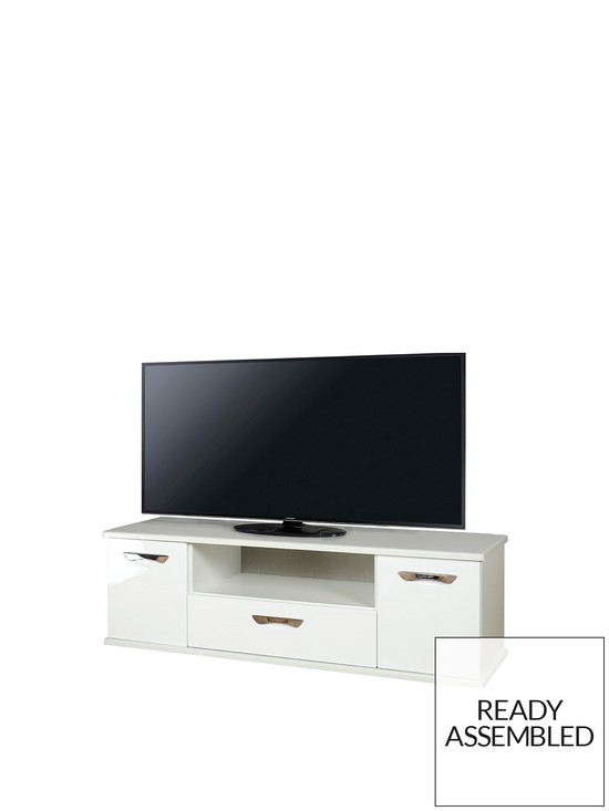 Swift Neptune Ready Assembled White High Gloss Tv Unit Fits Up To