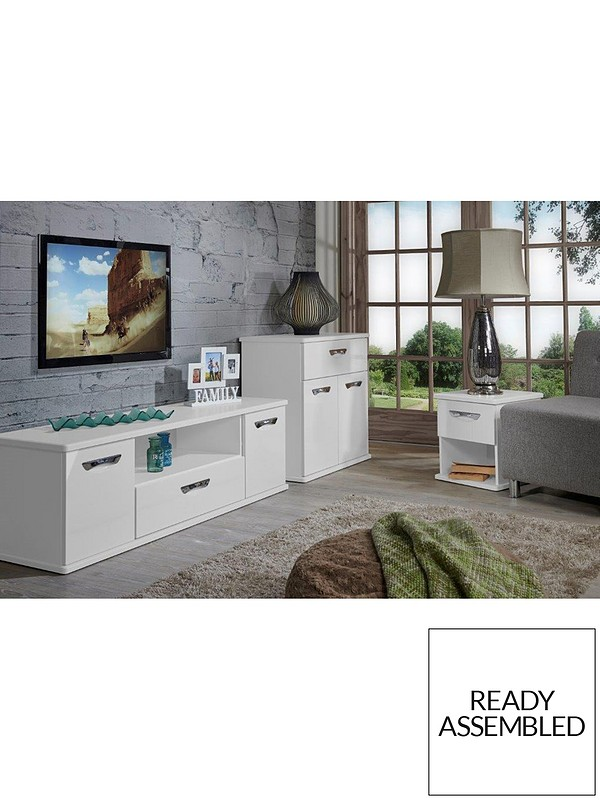 Swift Neptune Ready Assembled White High Gloss Tv Unit Fits Up To 65 Inch Tv Very Co Uk