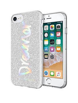 rebecca-minkoff-be-more-transparent-case-for-iphone-8-iphone-7-dreamer-silver-glitterholographic-foil