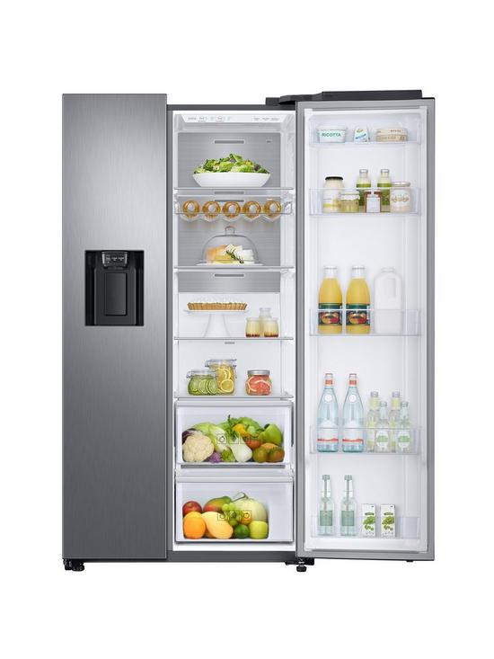 RS68N8240S9/EU American Style Frost Free Fridge Freezer with Plumbed Water,  Ice Dispenser - Matt Silver