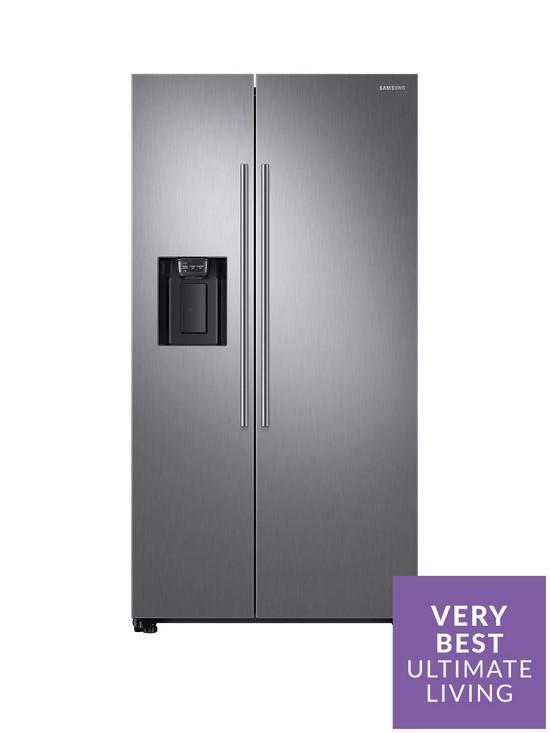 RS67N8210S9/EU America Style Frost-Free Fridge Freezer with Plumbed Water,  Ice Dispenser - Matt Silver