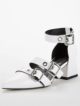 office-meghan-low-heel-bucklenbspstrappy-shoes-white