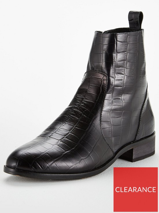 6a766cafcec OFFICE Ashleigh Crocodile Look Leather Ankle Boots - Black | very.co.uk