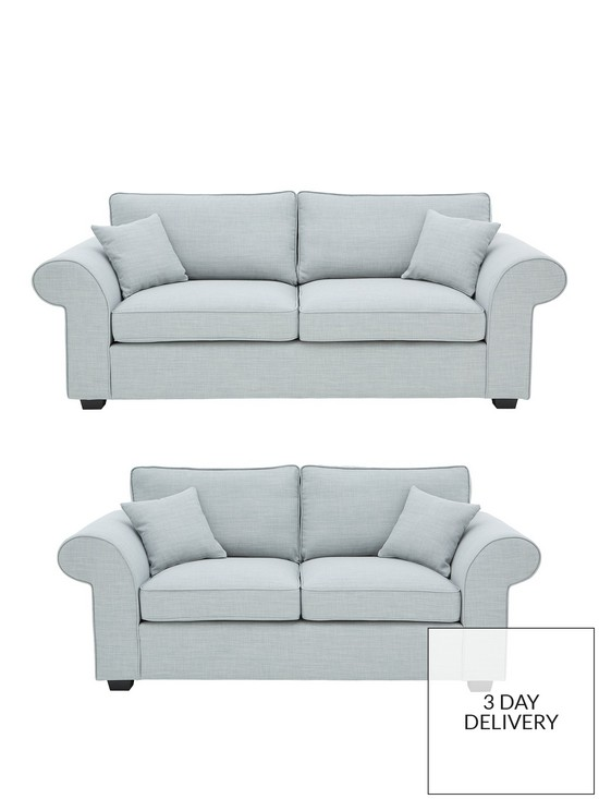Ideal Home Victoria Fabric 3 Seater + 2 Seater Sofa Set (Buy and ...