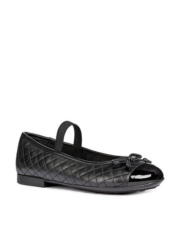 Plié Quilted Ballerina School Shoes Black