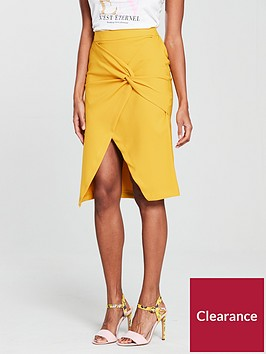 river-island-twist-front-pencil-skirt--nbsp-bright-yellow