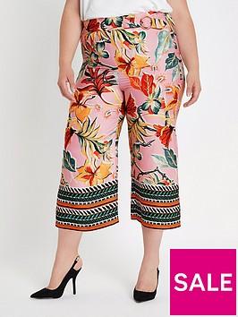 ri-plus-tropical-print-cropped-wide-leg-trouser-pink