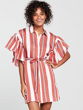 river-island-river-island-frill-sleeve-stripe-shirt-dress--red