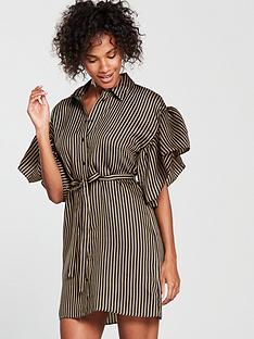 river-island-river-island-frill-sleeve-stripe-shirt-dress--black