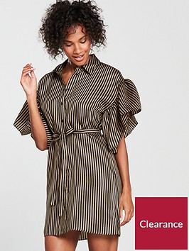 river-island-river-island-frill-sleeve-stripe-shirt-dress--black