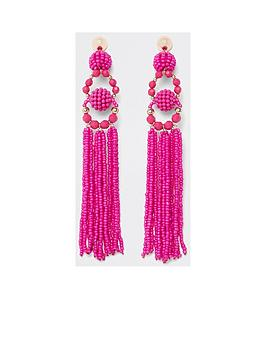 river-island-seedbead-tassel-drop-earrings-bright-pink