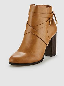 V By Very Fia Block Heel Ankle Boot - Tan