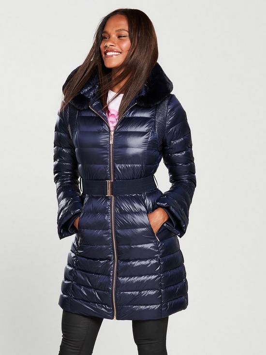 Ted Baker Yandle Long Down Coat With Hood - Navy  8b25676e7e50
