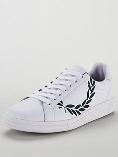 eacda4ea51 Fred Perry B721 Printed Laurel Leather Trainer - White