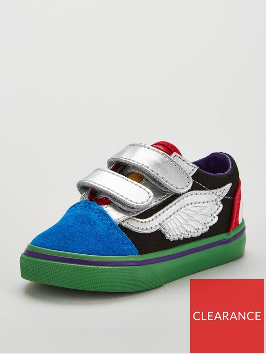 57e37b55570499 Vans Old Skool x Marvel Avengers Toddler Trainers - Blue Green Red ...
