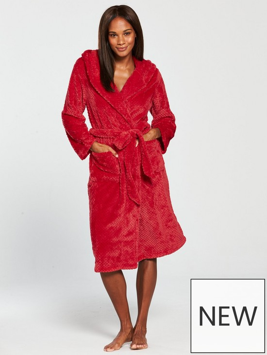 V by Very Hooded Dressing Gown - Red | very.co.uk