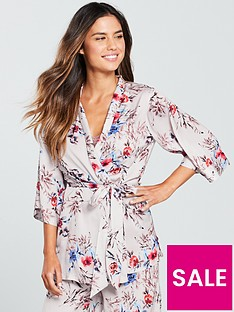 V by Very Wrap Satin Kimono Top - Floral Print 334a6795b
