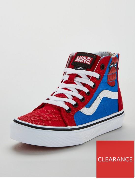 c38f12d2cd4b73 Vans Sk8-Hi x Marvel Spiderman Zip Junior Trainers - Red Blue