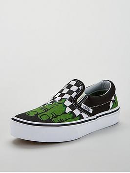 vans-classic-slip-on-marvel-hulk-junior-trainers-blackgreen