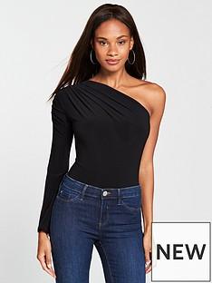 v-by-very-one-shoulder-ruched-sleeve-bodysuit-black