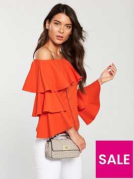 v-by-very-bardot-tiered-top-orange