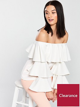 v-by-very-bardot-tiered-top-ivory