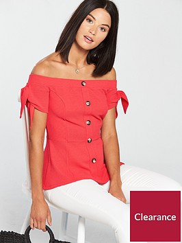 v-by-very-bardot-button-front-top-coral