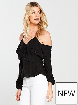 v-by-very-ruffle-wrap-top-black