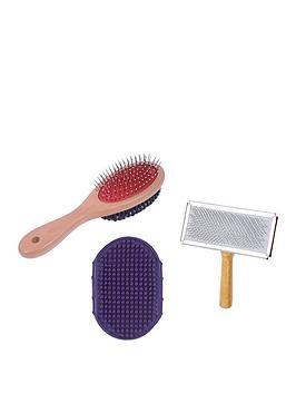 petface-grooming-bundle-double-brush-mitt-slicker-brush