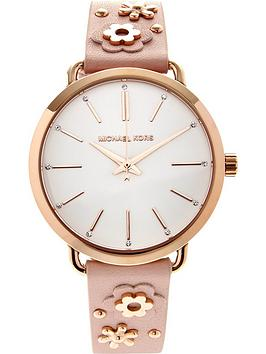 michael-kors-portia-leather-floral-strap-watch-rose-gold