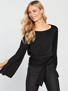 v-by-very-satin-split-sleeve-tie-detail-top-black