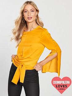 v-by-very-satin-split-sleeve-tie-detail-top-mustard