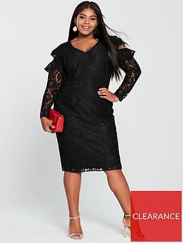 v-by-very-curve-lace-cold-shoulder-pencil-dress-black