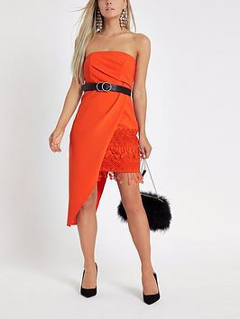 Ri Petite Asymmetric Bodycon Dress - Red