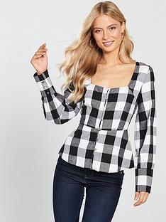v-by-very-peplum-check-blouse-monochrome