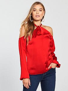 v-by-very-halter-neck-satin-blouse-red