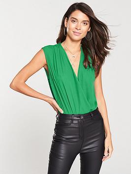 v-by-very-sleeveless-wrap-bodysuit-green