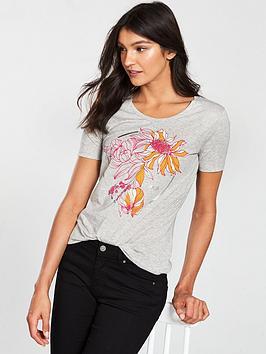 boss-telaronde-t-shirt-with-flowered-print-and-boss-logo-grey