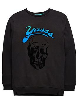 v-by-very-yasss-flocked-skull-sweatshirt