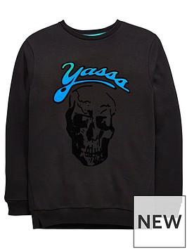 v-by-very-yasss-flocked-skull-sweatshirt
