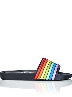 melissa-3d-rainbow-beachnbspsliders-black