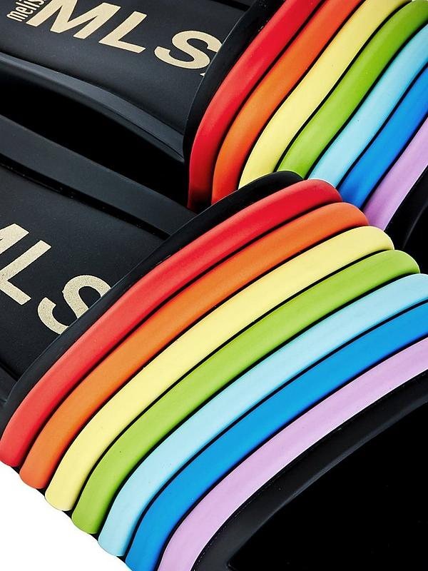 3411fd555ee0d 3D Rainbow Beach Sliders - Black