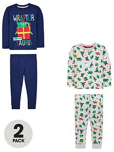 mini-v-by-very-boys-2-pack-wraptor-saurus-christmas-pyjama-set-multi