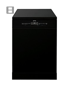 Smeg DF613PBL 60cm Wide, Freestanding, Fullsize, 13-Place Setting Dishwasher with FlexiDuo Baskets - Black Best Price, Cheapest Prices