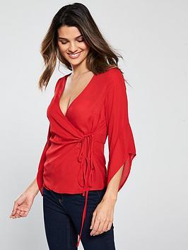 v-by-very-tie-wrap-blouse-rednbsp