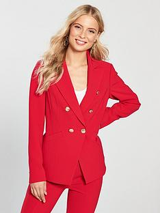 v-by-very-double-breasted-military-blazer-rednbsp