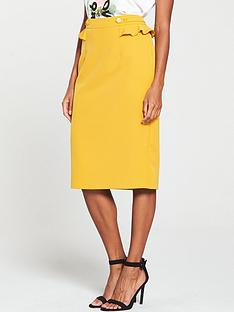 v-by-very-frill-detail-pencil-skirt-mustard