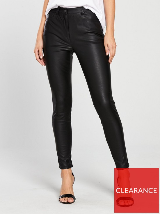 f6bd1da7548e2 V by Very Faux Leather Five Pocket Trouser - Black