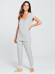 8ab702ddbe V by Very Lace Shoulder Jersey Lounge Set - Grey Marl
